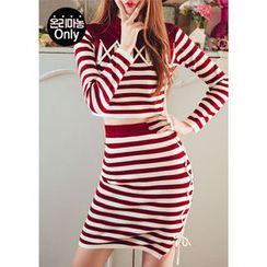 Chlo.D.Manon - Set: Lace-Up Stripe Knit Top + Pencil Skirt