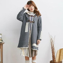 Blue Hat - Crochet-Panel Hooded Coat