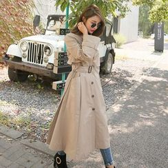 PPGIRL - Flap-Front Long Trench Coat With Belt