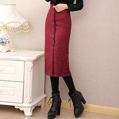 Fashion Street - Button Up Midi Skirt