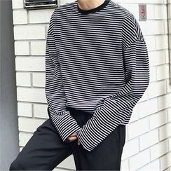 MITOSHOP - Crew-Neck Long-Sleeve Stripe T-Shirt