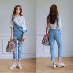 WITH IPUN - Distressed Straight Leg Dungaree