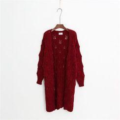 Mushroom Street - Pointelle Knit Long Cardigan