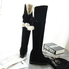 YOUIN - Two-Way Bow-Accent Tall Boots