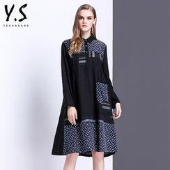 Y:Q - 碎花拼接長袖襯衫裙
