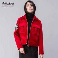 Cloudwood - Embroidered Velvet Zip Jacket