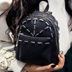 Nautilus Bags - Studded Faux Leather Mini Backpack