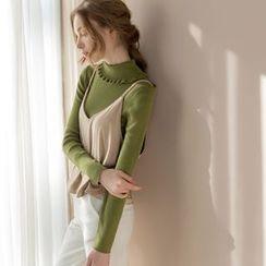 Tokyo Fashion - Long-Sleeve Ruffled Knit Top