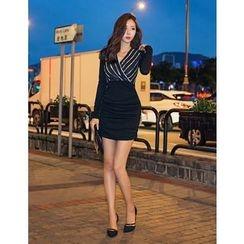 GUMZZI - Striped Wrap Dress