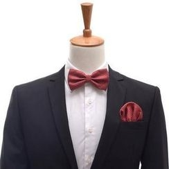 Romguest - 套装: 点点领结 + 西服袋巾