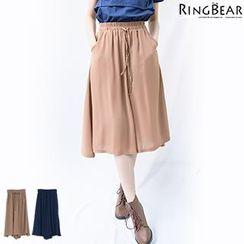 RingBear - 休閒飘逸轻熟魅力松紧绑带雪纺双口袋七分宽管裤