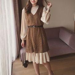 Cocofield - Set: Mock Neck Long Sleeve Dress + Open Knit Long Vest