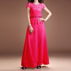 AIXI - Sequined Lace Panel Short Sleeve Evening Gown