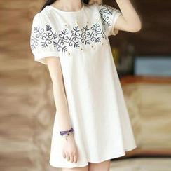 MayFair - Short-Sleeve Embroidered T-Shirt Dress