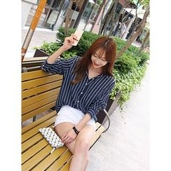 hellopeco - Pocket-Front Striped Shirt