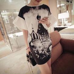 VIZZI - Cathedral Print Ruffled-Sleeve T-Shirt Dress