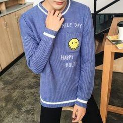Breeson - 笑臉貼布毛衣