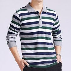 SENTA - Striped Long Sleeve Polo Shirt
