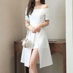 Lavogo - Plain Off Shoulder Short Sleeve A-Line Dress