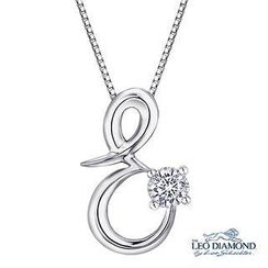 Leo Diamond - Initial Love 18K White Gold Diamond Pendant Necklace (16') - 'E'