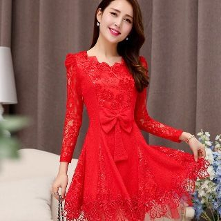 Romantica - Long-Sleeve Bow-Accent Lace Party Dress