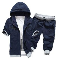 Bay Go Mall - Set : Panel Hooded Short-Sleeve Jacket + Shorts