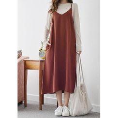 GOROKE - Spaghetti-Strap Long Dress