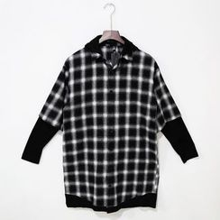 Mr. Cai - Mock Two-Piece Hooded Plaid Top