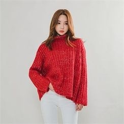 ERANZI - Mock-Neck Mélange Sweater