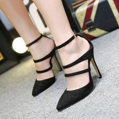 Monde - Ankle Strap Pointy Stilettos