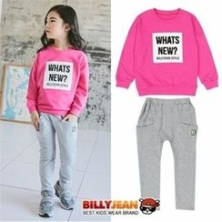 BILLY JEAN - Girls Set: Lettering Sweatshirt + Baggy-Fit Pants