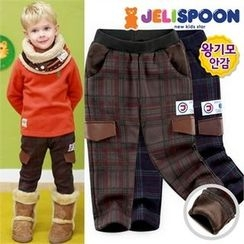 JELISPOON - Kids Check Fleece-Lined Pants