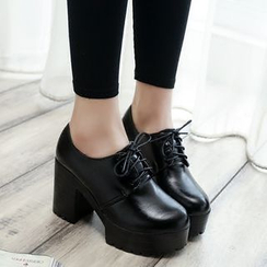 Simply Walk - Platform Block Heel Oxfords