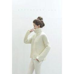 ATTYSTORY - Turtle-Neck Waffle-Knit Sweater