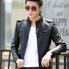 Denimic - Faux Leather Zip Jacket