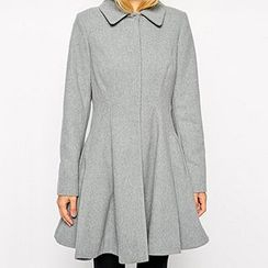 Richcoco - Woolen A-Line Long Sleeve Dress