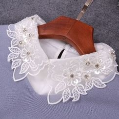 Giyomi - Sequined Flower Embroidered Decorative Collar