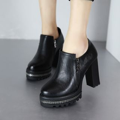 Forkix Boots - Block Heel Ankle Boots