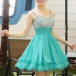 Bridal Workshop - Sleeveless Sequined Mini Prom Dress