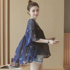 Munai - Set: Butterfly Embroidered Chiffon Blouse + Camisole