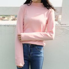 FancyMe - Long-Sleeve Stand Collar T-Shirt