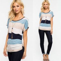 Chika - Short-Sleeve Striped Top
