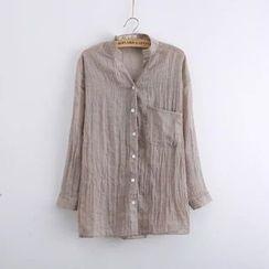 Tangi - V-Neck Linen Shirt