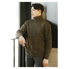 HOTBOOM - Turtle-Neck Cable-Knit Sweater