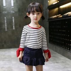Merry Go Round - Kids Set: Long-Sleeve Striped T-Shirt + A-Line Skirt