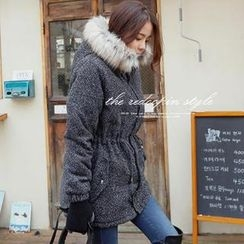 REDOPIN - Faux-Fur Trim Drawstring-Waist Coat
