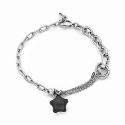 Kenny & co. - Ip Black Lucky Star Steel Bracelet