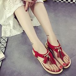 MANMANNI - Tasseled Thong Flat Sandals