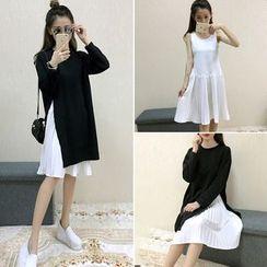 Velero - Set: Pleated Hem Tank Dress + Side Slit Sweater Dress