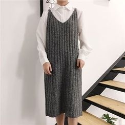 Chililala - 纯色针织背带裙